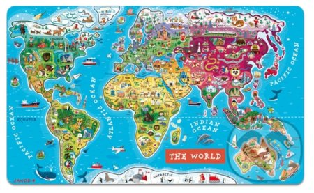 Mapa sveta – Drevené magnetické puzzle -