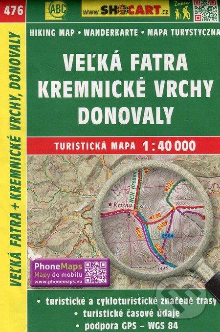 Veľká Fatra, Kremnické vrchy, Donovaly 1:40 000 - turistická mapa č. 476 -