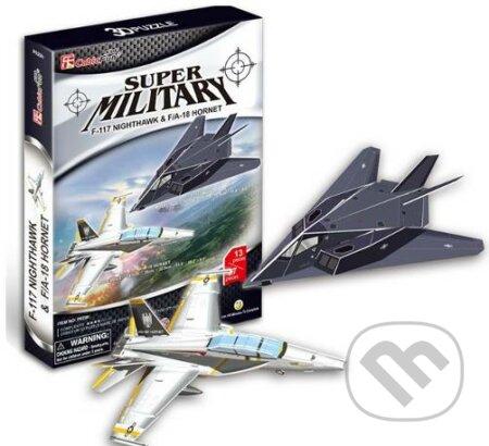 Stíhačky F117 Nighthawk a A-18 Hornet -
