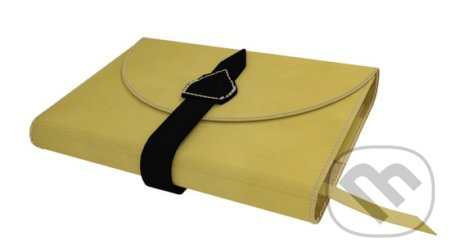Variabilný obal na knihu z pravej kože so sponou (Žltá) -