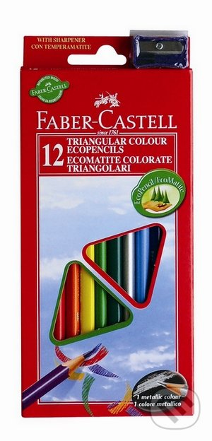 Pastelky ECO Triangular Faber Castell (12 farieb + strúhadlo) -