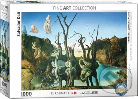Labutě odrážející slony - Salvador Dalí
