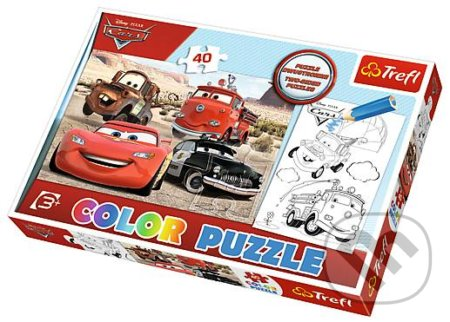 Color Puzzle Cars in the desert -