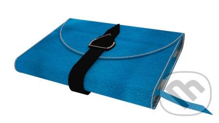 Variabilný obal na knihu z pravej kože so sponou (Modrá) -