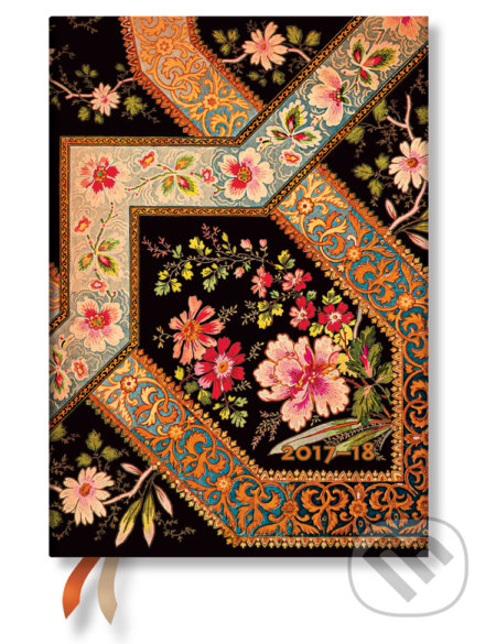 Paperblanks - diár Filigree Floral Ebony 2017/2018 -