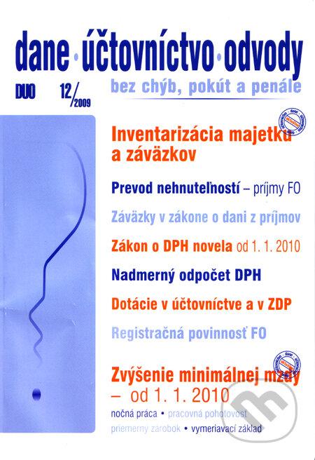Dane, účtovníctvo, odvody 12/2009 -
